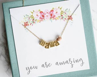 Mothers Day Gift, Mama Necklace, Mama Bear Necklace, Gold Necklace, Mothers Day Gift, name necklace, Gifts for mom, best seller necklace