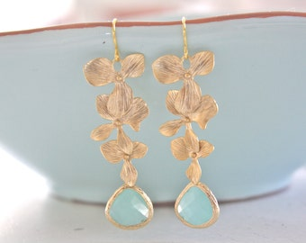 Gold Earrings, Mint and Gold Orchid Earrings, Bridesmaid Jewelry, Bridesmaid gifts, Mint Wedding, Gifts for Her Bridesmaid Earrings Birthday