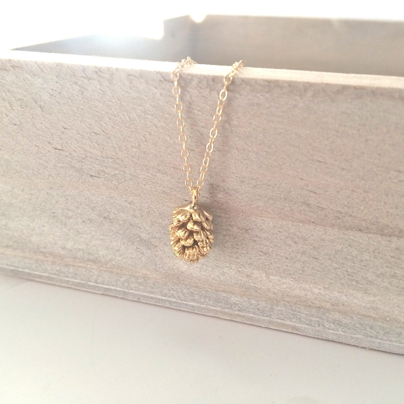Gold Necklace Gold pinecone Necklace Dainty Gold Necklace image 0