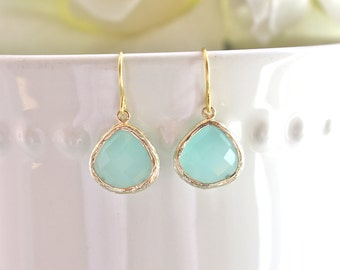 Gold Earrings,  Aqua Earrings Bridesmaid Earrings Bridesmaid gifts, gift for her Mint Earrings Gifts for Mom Best Friend Gift Mothers Day