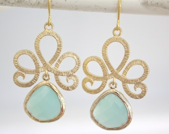 Gold Earrings, Aqua Earrings, Mint Wedding, Bridesmaids Jewelry, Bridesmaid gifts, gifts for her, best friend gifts, best seller, co worker