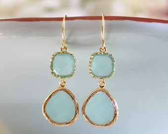 Gold Earrings, Mint Earrings, Bridesmaids Earrings, Bridesmaid Gifts, Mint and Gold Wedding, Gifts for Her, Best Friend Gifts, Gifts for Mom