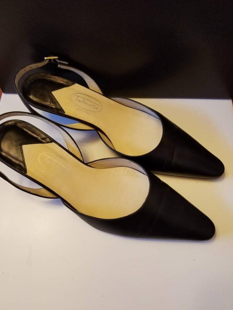 size 7 sandals Black Talbots sandals size 7 2 inch heels leather soles.