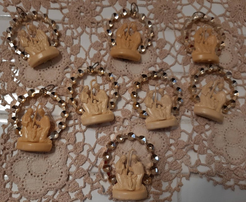 Mary and Joseph ornaments Jesus Lot of 8 vintage made in Italy Christmas ornaments Vintage manger scene ornaments Nativity scene ornam