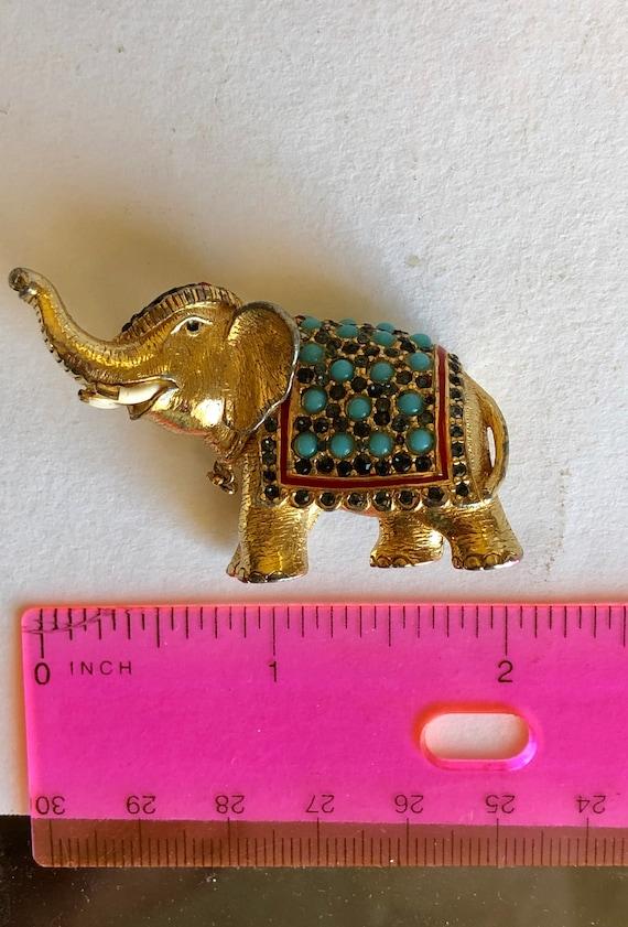 Ciner Elephant Brooch Signed Turquoise Rhinestones