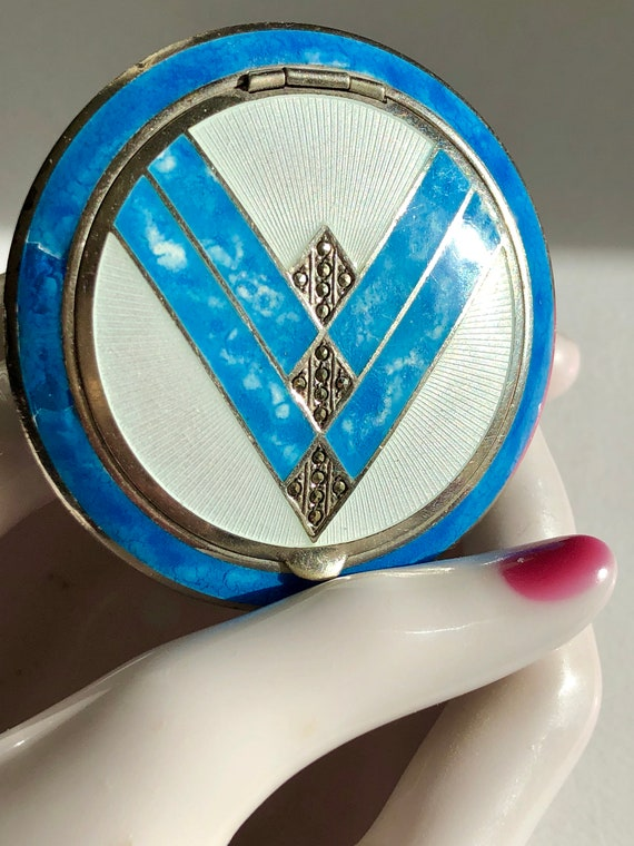 Art Deco Compact Marcasite V is for Victory War Co