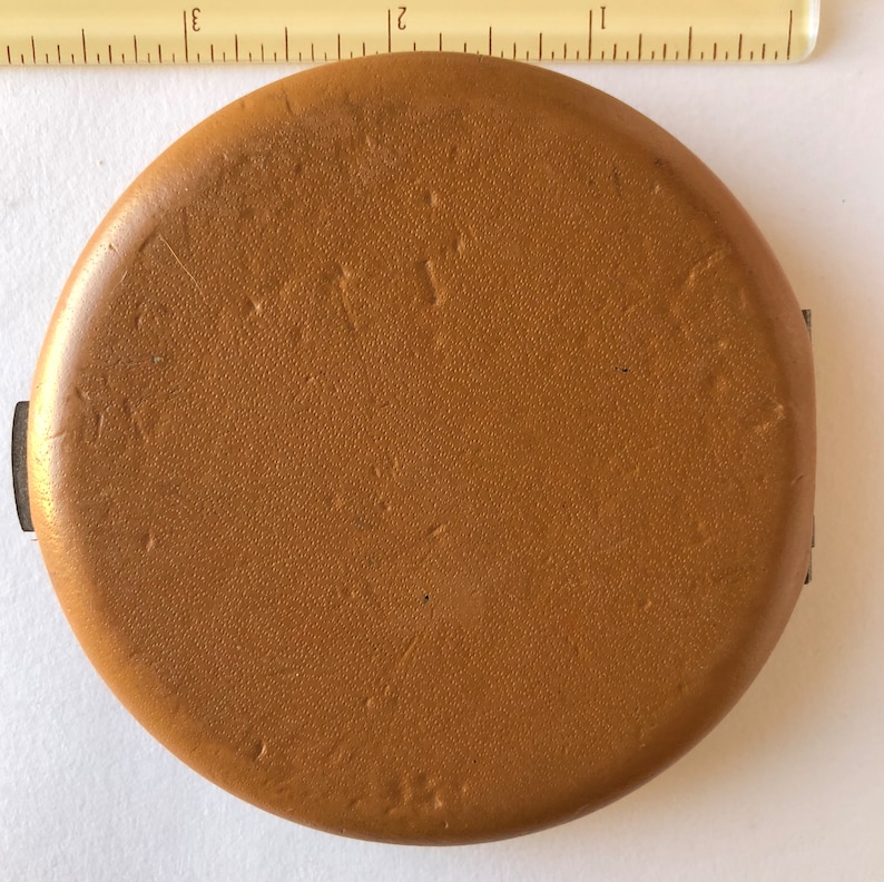Race Horse Jockey old Celluloid Leather Powder Makeup Compact w Mirror Nice Vintage Collectible!