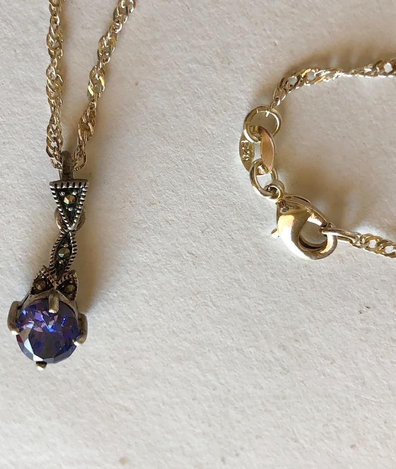 Tanzanite Marcasites Pendant Sterling Silver 925 Chain Beautiful Purple Blue Tones Necklace Vintage