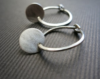 "Silver Hoop Earrings and Matte Discs 5/8""D Hoops"