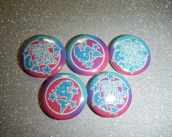 15 Mermaid Princess  Wishes Kisses Craft Flat Back Embellishment Buttons