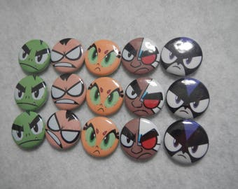 15 Teen Titans Go Inspired Craft Flat Back Embellishment Buttons
