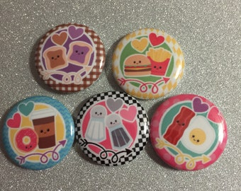 15 kawaii foodie food Craft Flat Back Embellishment Buttons