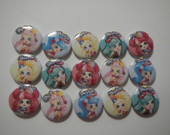 15 Shoppies Girls Shopkins Inspired Craft Flat Back Embellishment Buttons