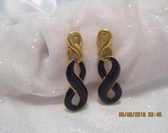 e1b885d7bb4d40 FREE US SHIP Monet Vintage Navy Goldtone Crazy 8 Dangling Pierced Earrings  Classic Navy Estate Jewelry Monet Statement Jewelry Earrings