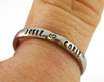Stacking Ring / Name Ring / Thumb Ring / Personalized Name Ring / Personalized Ring / Hand Stamped Ring / Stainless Steel Ring 3mm