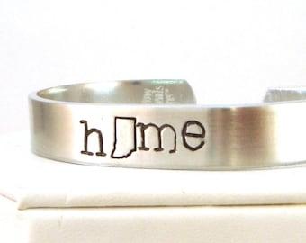 Indiana Bracelet Cuff in Aluminum | Indiana Home State Cuff | Hand Stamped State Cuff | Indiana Cuff