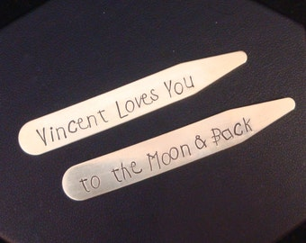 Love You to the Moon and Back Personalized Collar Stays | Father's Day Gift | Personalized Dad Gift