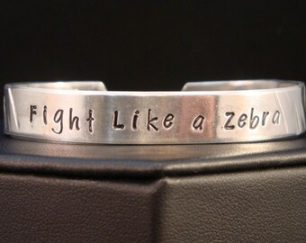 Fight Like a Zebra EDS Awareness Cuff in Aluminum