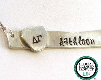 Delta Gamma Horizontal Bar Necklace - Personalized Delta Gamma Necklace - Official Licensed Product
