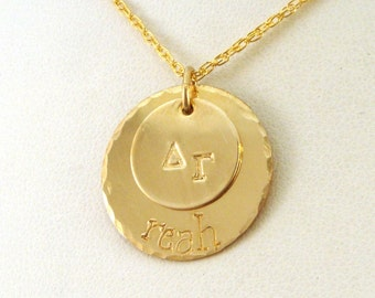 Gold Delta Gamma Necklace - Gold DG Jewelry - Two Disk Stacked Necklace - Official Licensed Product