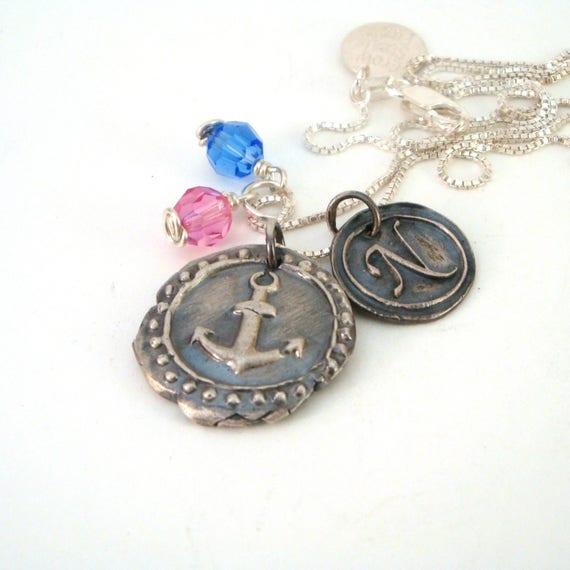 Delta Gamma Anchor Wax Seal Necklace with Initial   DG  733fa506e6e