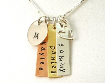 Mommy Necklace / Mixed Metal Necklace / Long Tag Necklace / Mom Necklace with 3 Names / Rectangle Necklace / Mommy Necklace with Three Names
