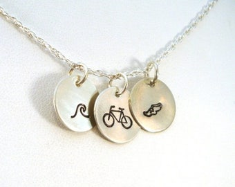 SALE CIJ2017 Triathlon Necklace \ Swim Bike Run Necklace \ Hand Stamped Necklace \ Triathlete Necklace