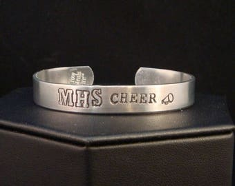 SALE CIJ2017 Cheerleader Gifts - Personalized Hand Stamped Bracelet Cuff in Aluminum