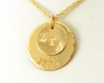 Gold Zeta Tau Alpha Necklace - Gold ZTA Jewelry - Two Disk Stacked Necklace - Official Licensed Product