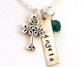 Personalized Celtic Cross Necklace with Birthstone | Sterling Silver Name Necklace