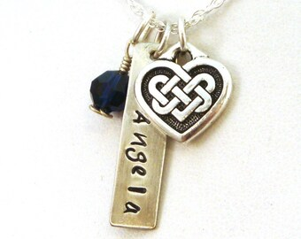 Celtic Heart Necklace - Personalized Irish Necklace with Celtic Knot Heart