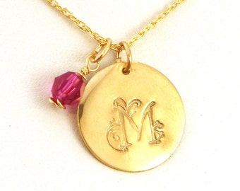 Gold Initial Necklace with Birthstone - Floral Large Initial Necklace - Gift for Girlfriend - Storybook Floral Font