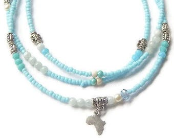 Blue Opal Waist Beads, Africa Waist Beads, Opal Belly Chain, Spiritual Jewelry, Crystal Waist Beads, Gemstone Waist Beads