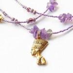 Amethyst Nefertiti Waist Beads, Purple Healing Waist Beads, Ancient Egyptian Waistbeads, Spiritual  Belly Chains, African Waist Beads