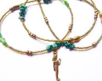 Goddess Waist Beads, Malachite Het-Heru Waist Beads, African Waist Beads, Ancient Egyptian Belly Chain, Green Belly Chain