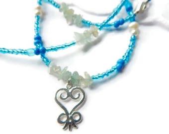 African Waist Beads, Aquamarine Sankofa Blessed Waist Beads, Adinkra Waist Beads, Blue Belly Chain, Sankofa Waist Beads