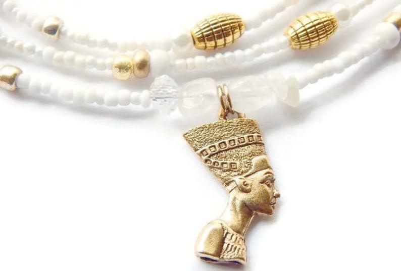 Nefertiti Womb Wellness Waist Beads Moonstone Feminine image 0