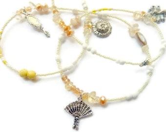 Oshun Waist Beads, Oshun Citrine- Dragonfly-Peacock-Handmirror-Sunflower Waist Beads, African Waist beads, Citrine Belly Chain
