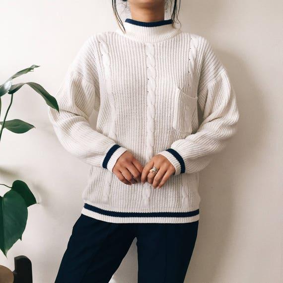 Vintage White Mock Neck Sweater Chunky Knit Sweater Etsy
