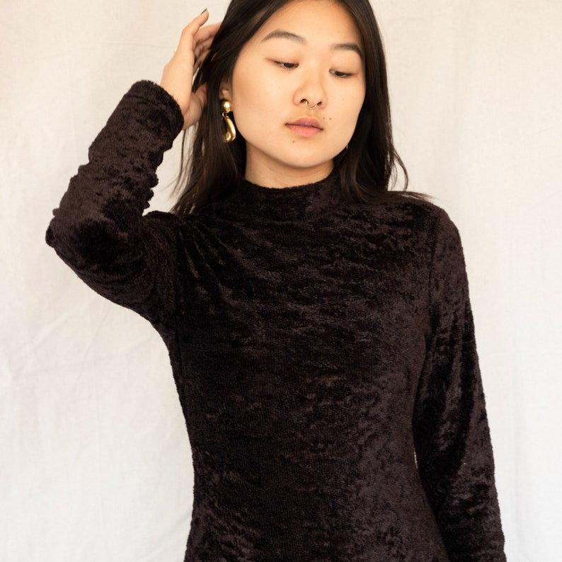 2df9412cce Vintage Fuzzy Black Mock Neck Long Sleeve Dress   Furry