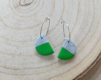 Half moon polymer clay earrings on hoop, green side of the moon