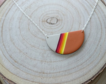 Bright polymer clay statement necklace on silver chain, autumn rainbow