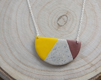 Bright polymer clay statement necklace on silver chain