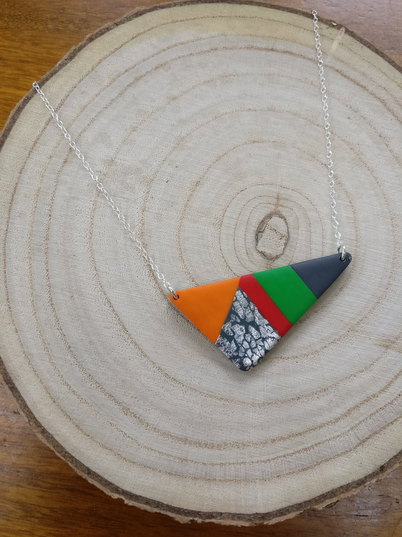 Bright polymer clay statement necklace on silver chain image 0