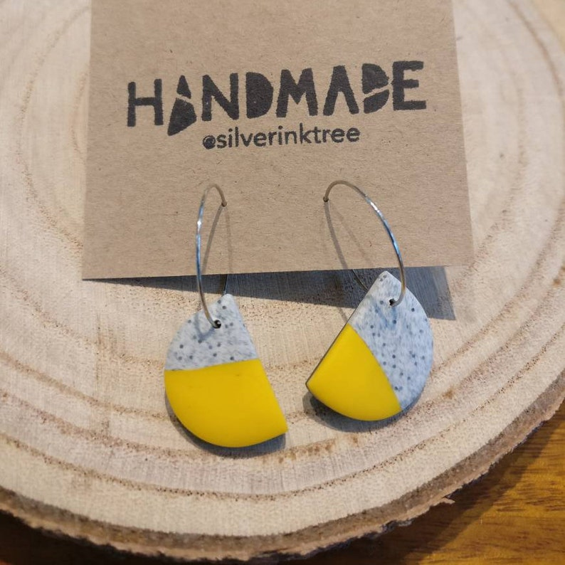 Half moon polymer clay earrings on hoop yellow side of the image 0