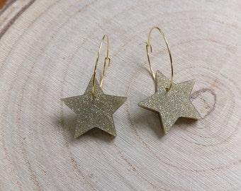 Polymer clay gold glitter stars