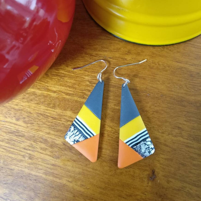 Bright polymer clay dangly earrings silver orange yellow image 0