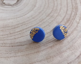 Mini blue and gold polymer clay stud earrings