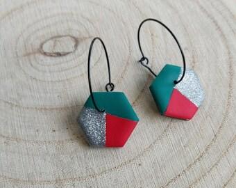 Hexagon polymer clay earrings on black hoop, Silver, red. emerald