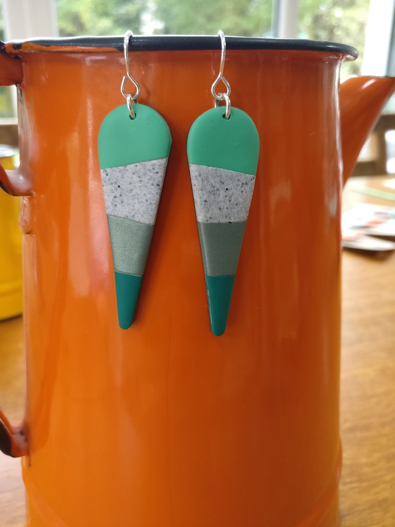 Bright polymer clay dangly earrings long mint droplet image 0